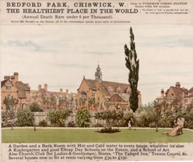 Old advertisement showing Bedford Park