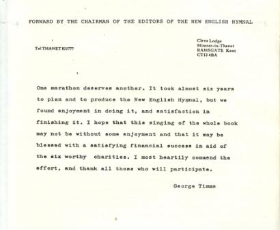 Foreword by George Timms, 1987 programmes