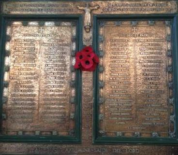 War Memorial plaque in St Michael's